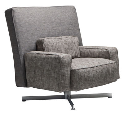 Furniture - Armchairs - Cinemascope Swivel armchair - Padded / Fabric by Driade - Grey back / Taupe seat / Steel leg - Fabric, Goose feathers, Polyurethane foam, Steel