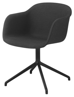 Furniture - Armchairs - Fiber Swivel armchair - / Central leg by Muuto - Black - Fabric, Painted steel, Recycled composite material
