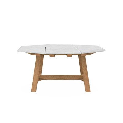 Table carrée Rafael Octogonal / 160 x 160 cm - Marbre & teck brossé - 8 personnes - Ethimo blanc en pierre