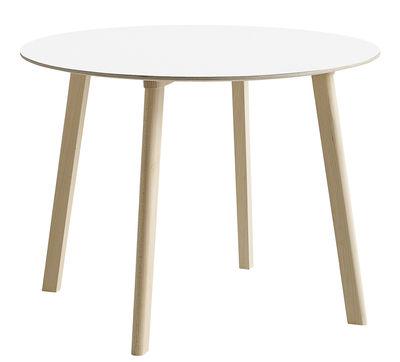 Mobilier - Tables - Table ronde Copenhague CPH Deux 220 / Ø 98 cm - Hay - Blanc / Hêtre naturel - Hêtre massif, Laminé, Stratifié