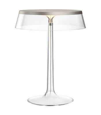 Bon Jour Tischleuchte / LED - H 41 cm - Flos - Transparent,Silber mattiert