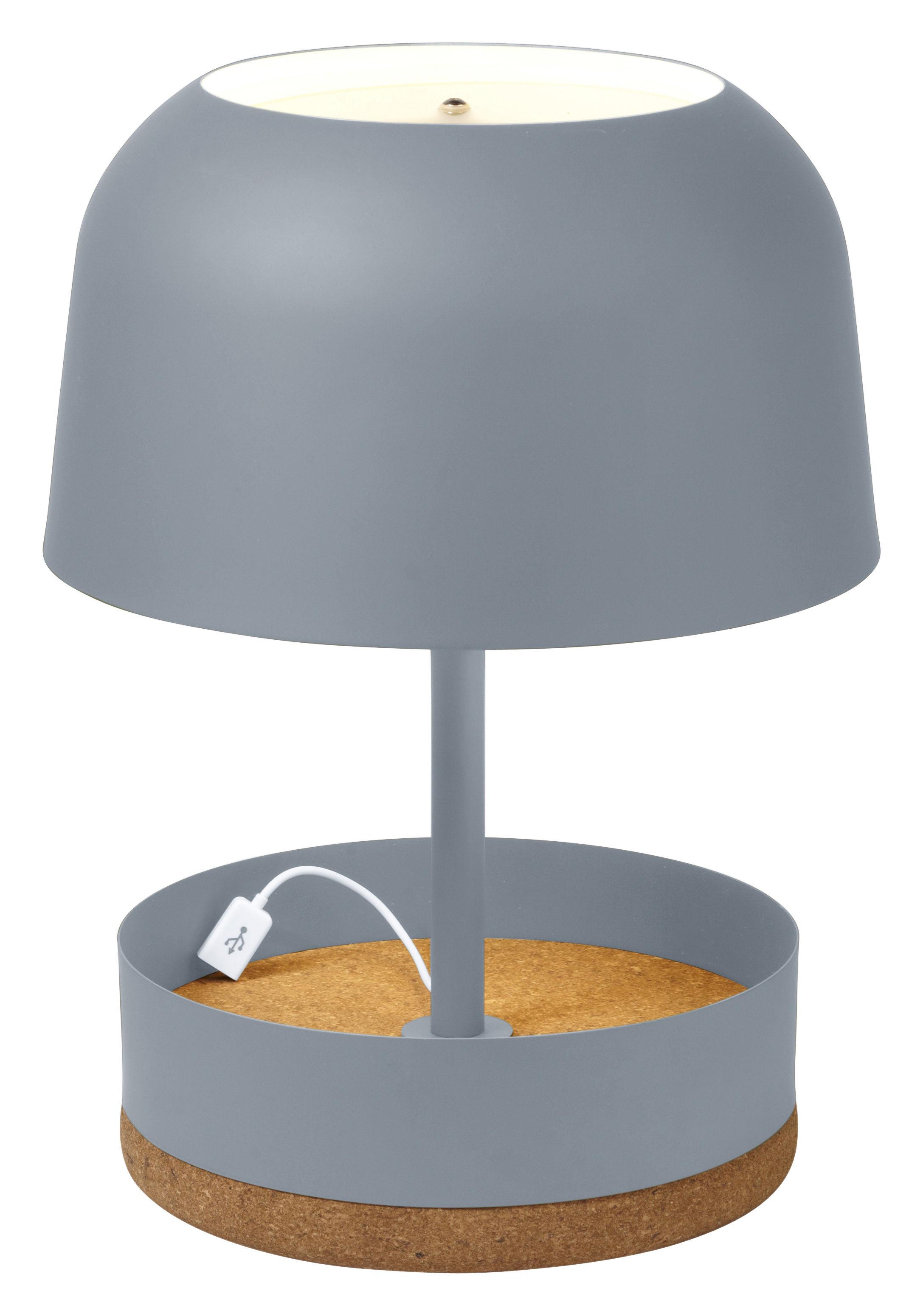 Leuchten - Tischleuchten - Hodge-Podge USB Tischleuchte / mit integriertem USB-Port - H 39,5 cm - Forestier - Grau - lackiertes Metall