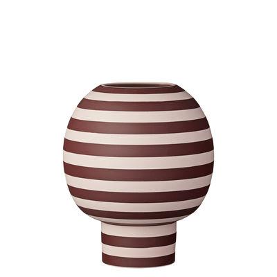 Decoration - Vases - Varia Vase - / Sandstone - Ø 18 x H 21 cm by AYTM - Pink and burgundy stripes - Sandstone