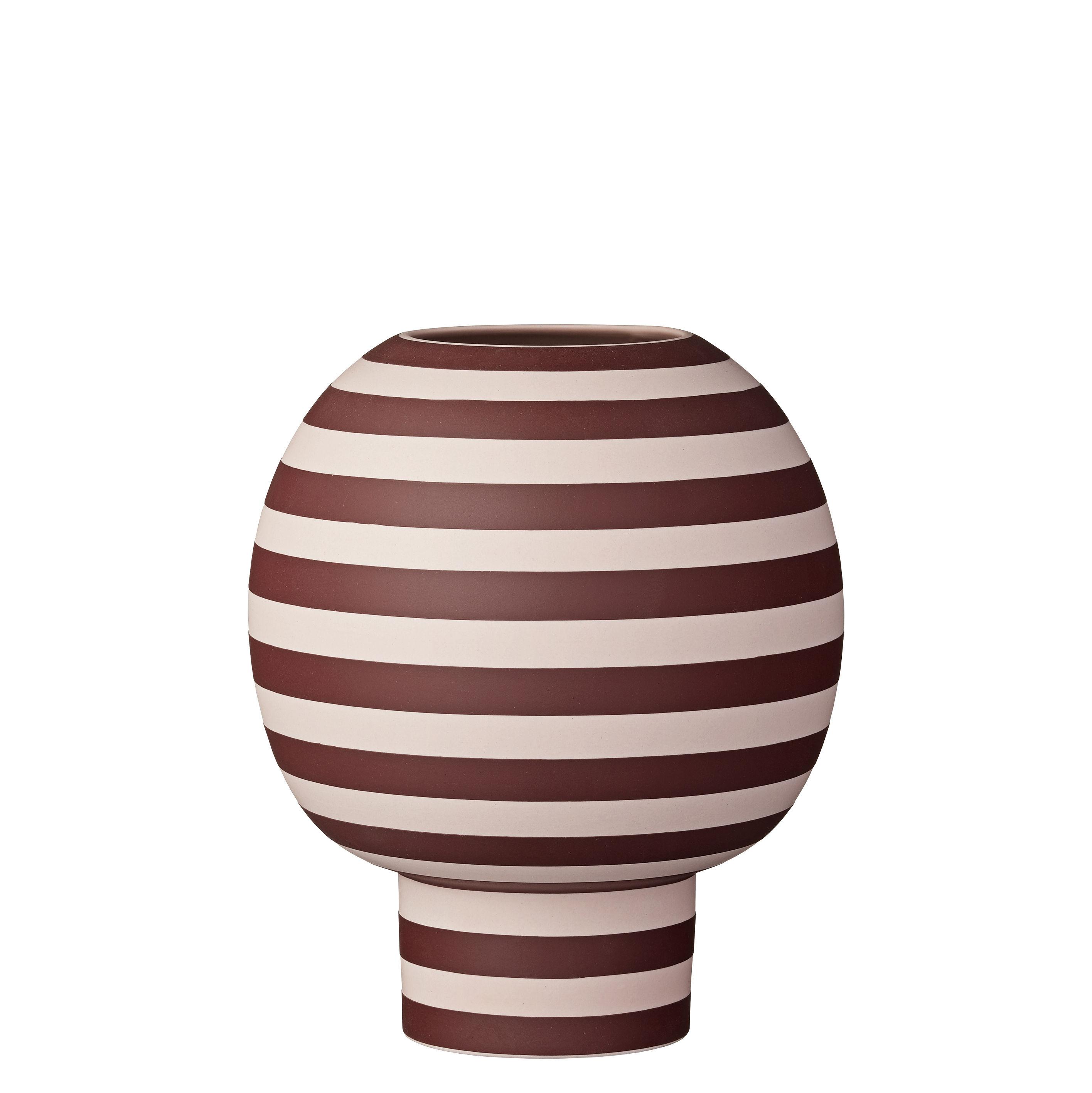 Déco - Vases - Vase Varia / Grès - Ø 18 x H 21 cm - AYTM - Rayé rose & bordeaux - Grès
