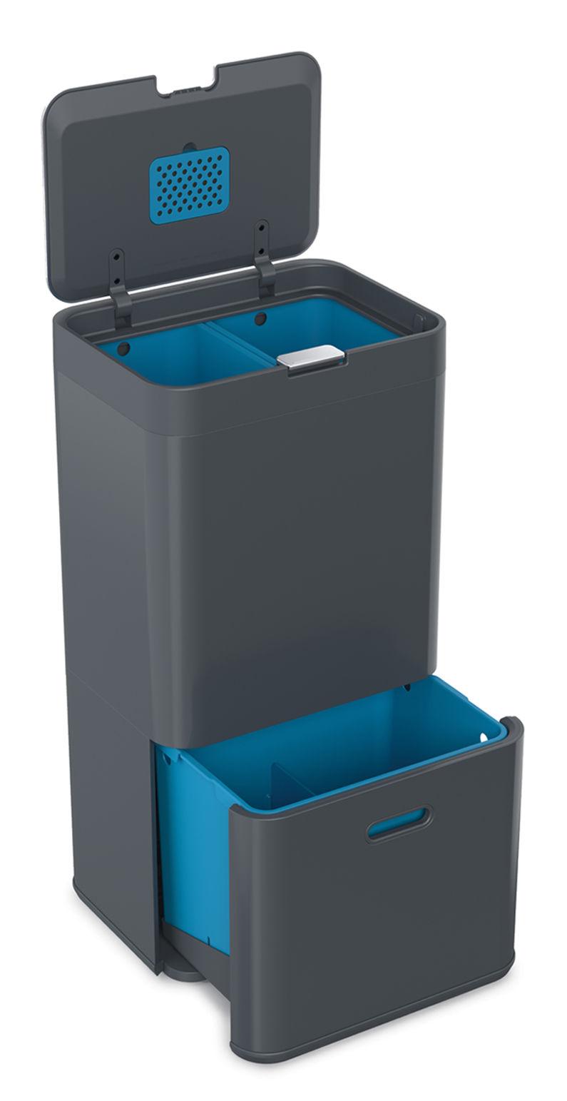 Küche - Mülleimer - Totem Abfallbehälter / 58 l - 4 Fächer - Joseph Joseph - Anthrazit - Plastikmaterial, Stahl