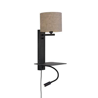 Applique avec prise Florence / Abat-jour tissu - Liseuse LED, étagère & port USB - It's about Romi noir,lin foncé en métal
