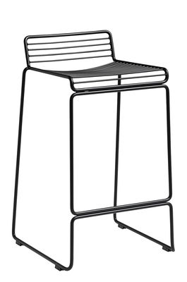 Furniture - Bar Stools - Hee Bar stool - / H 65 cm by Hay - Black - Lacquered steel