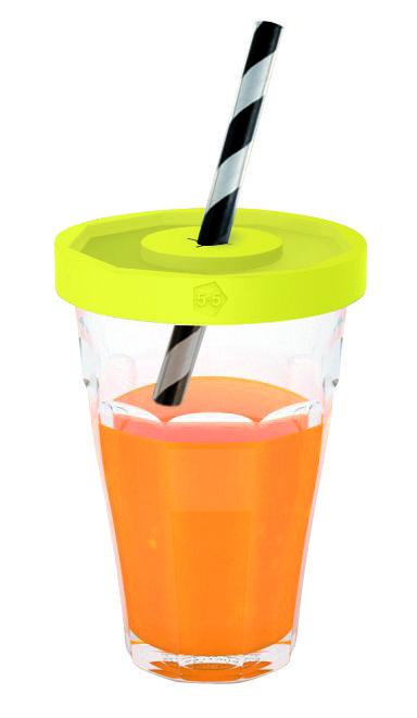 Tischkultur - Gläser - Picardie Jars Becher / 2 Duralex-Gläser mit Deckeln - Designerbox - Gelb - Glas, Plastique TPE alimentaire