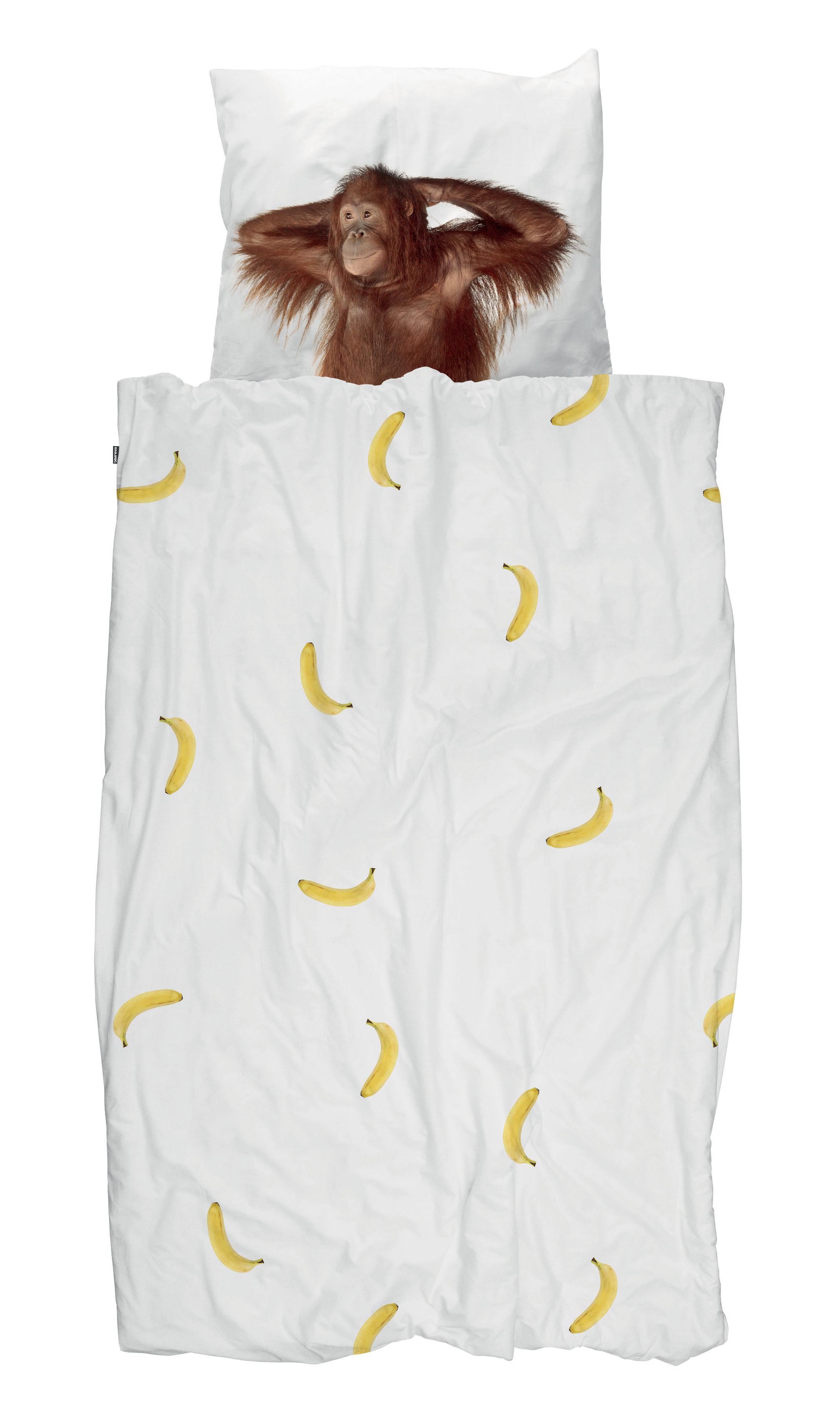 Dekoration - Wohntextilien - Banane & Singe Bettwäsche-Set für 1 Person / 140 x 200 cm - Snurk - Banane & Affe - Percale de coton
