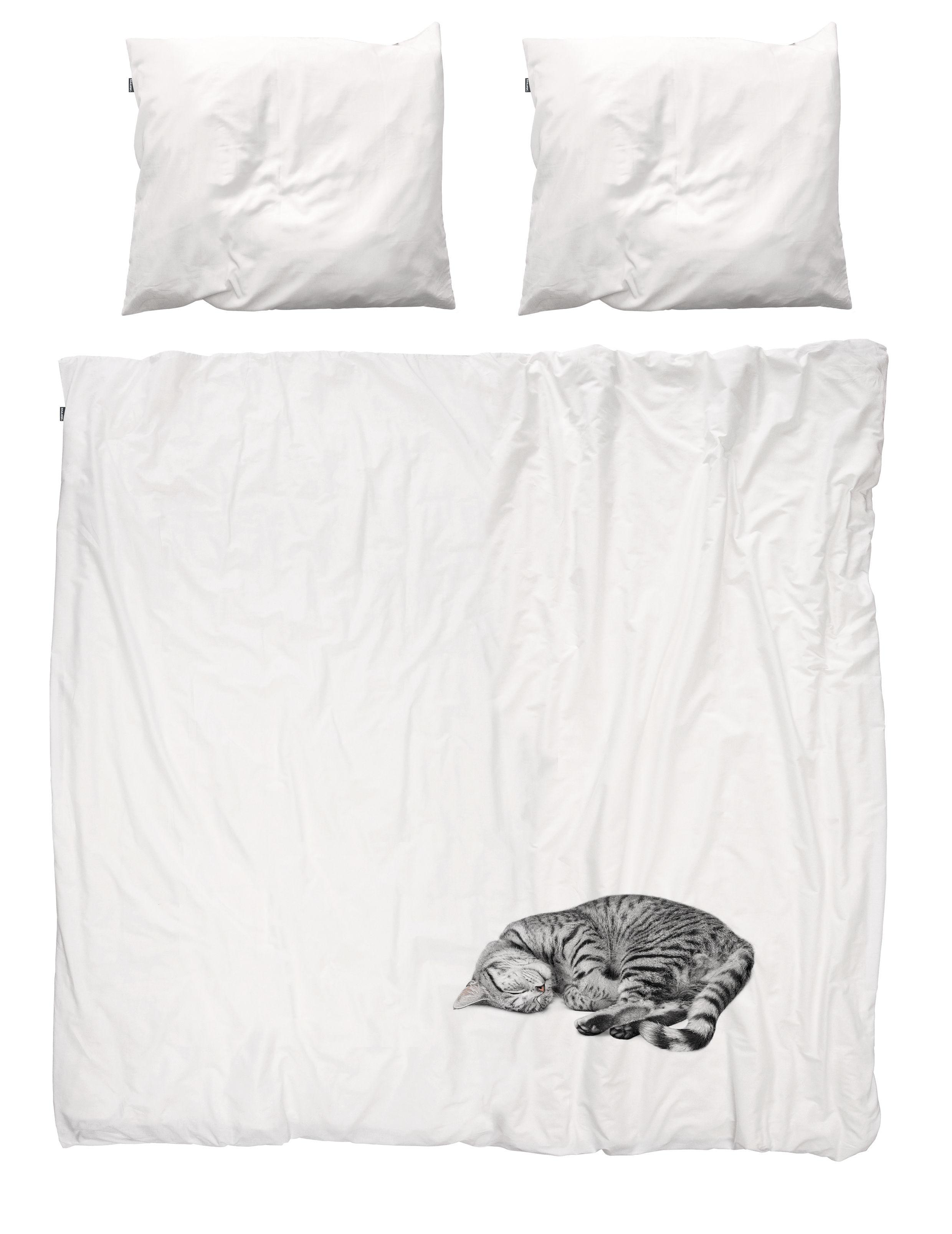 Dekoration - Für Kinder - Ollie Bettwäsche-Set für 2 Personen / für 2 Personen - 240 x 220 cm - Snurk - Katze: grau - Percale de coton