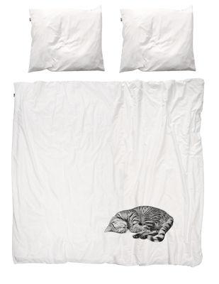 Interni - Per bambini - Biancheria da letto 2 persone Ollie - / 2 persone - 240 x 220 cm di Snurk - Bianco / Gatto grigio - Percalle di cotone