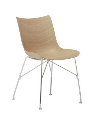 Mobilier - Chaises, fauteuils de salle à manger - Chaise P/Wood / Bois moulé - Kartell - Hêtre clair / Pied chromé - Acier chromé, Contreplaqué de hêtre naturel moulé