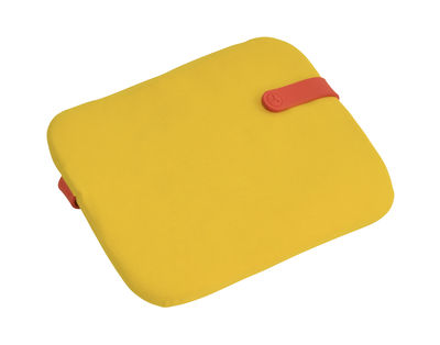 Interni - Cuscini  - Cuscino Color Mix / Per sedia Bistro - 38 x 30 cm - Fermob - Giallo toucan / Cinghia nasturzio - Espanso, PVC, Tessuto acrilico