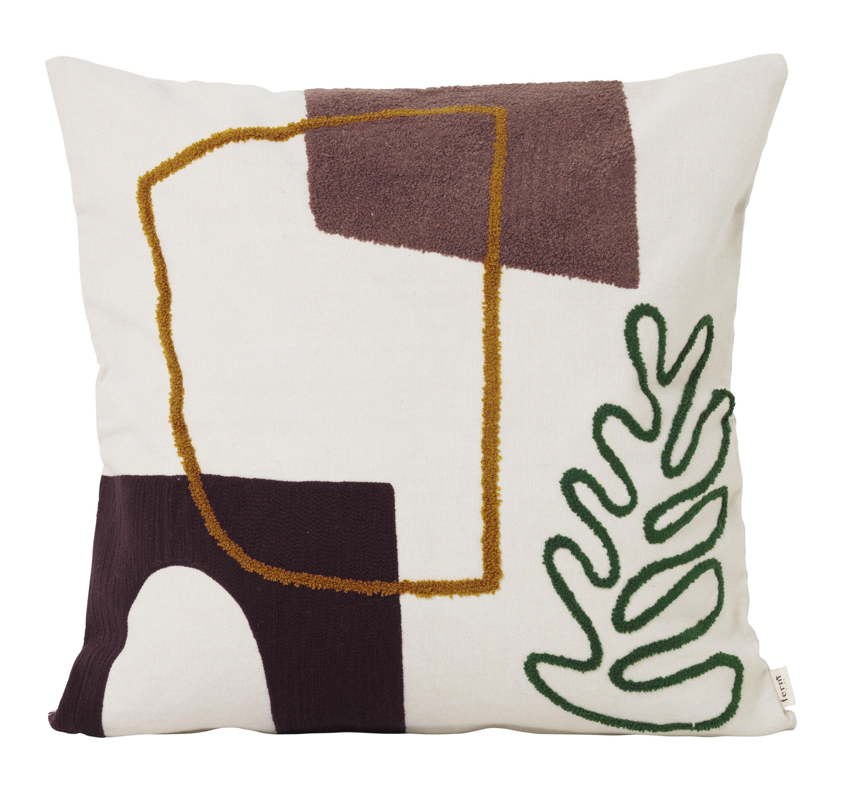 Interni - Cuscini  - Cuscino Mirage - / Ricamato - 50 x 50 cm di Ferm Living - Multicolore -  Duvet,  Plumes, Cotone