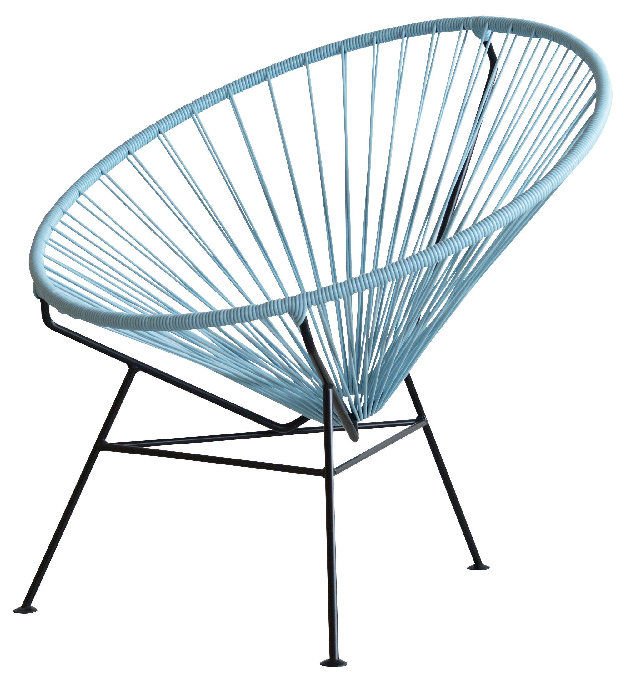 Mobilier - Fauteuils - Fauteuil bas Condesa - OK Design pour Sentou Edition - Bleu gris - Acier laqué, Matière plastique