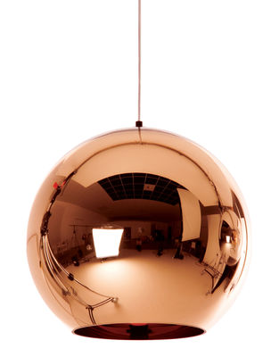 Lighting - Pendant Lighting - Copper Round Pendant by Tom Dixon - Ø 25 cm - Copper - Polycarbonate