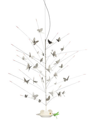 Lighting - Pendant Lighting - La festa delle Farfalle Pendant - / LED - Ø 60 x H 110 cm by Ingo Maurer - Pendant / White - China, Lacquered metal, Paper
