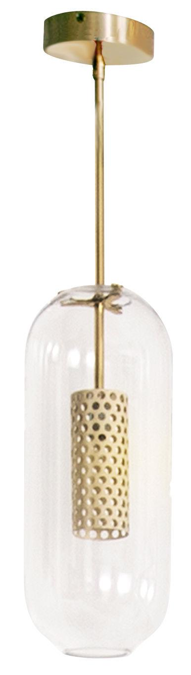 Lighting - Pendant Lighting - Vadim Pendant by Maison Sarah Lavoine - Golden structure / White diffuser - Glass, Painted steel