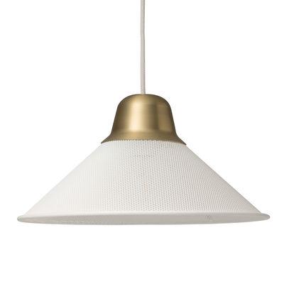 Aura Small Pendelleuchte / Metall - Ø 33 cm x H 17 cm - Petite Friture - Weiß,Messing Gebürstet