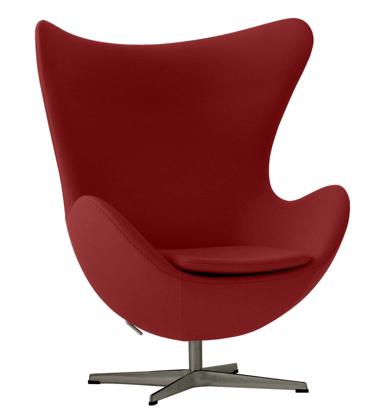 Arredamento - Poltrone design  - Poltrona girevole Egg chair - tessuto di Fritz Hansen - Rosso - Alluminio lucido, Fibra di vetro, Schiuma di poliuretano, Tessuto Kvadrat