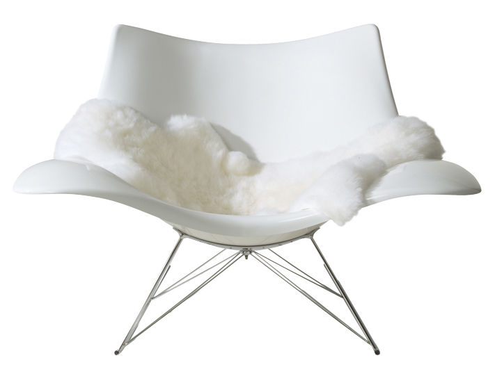 Furniture - Exceptional furniture - Stingray Rocking chair by Fredericia - White - Plastic material, Stainless steel