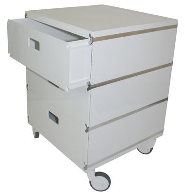 Plus Unit Rollcontainer 3 stapelbare Schubladen - auf Rollen - Magis - Weiß