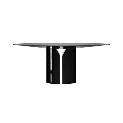 Furniture - Dining Tables - NVL Round table - / Ø 150 cm - By Jean Nouvel by MDF Italia - Black - Lacquered MDF, Polyurethane