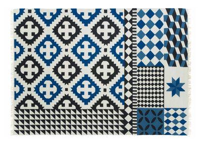 Decoration - Rugs - Kilim Palermo Rug - / 240 x 170 cm by Gan - Blue - Virgin wool