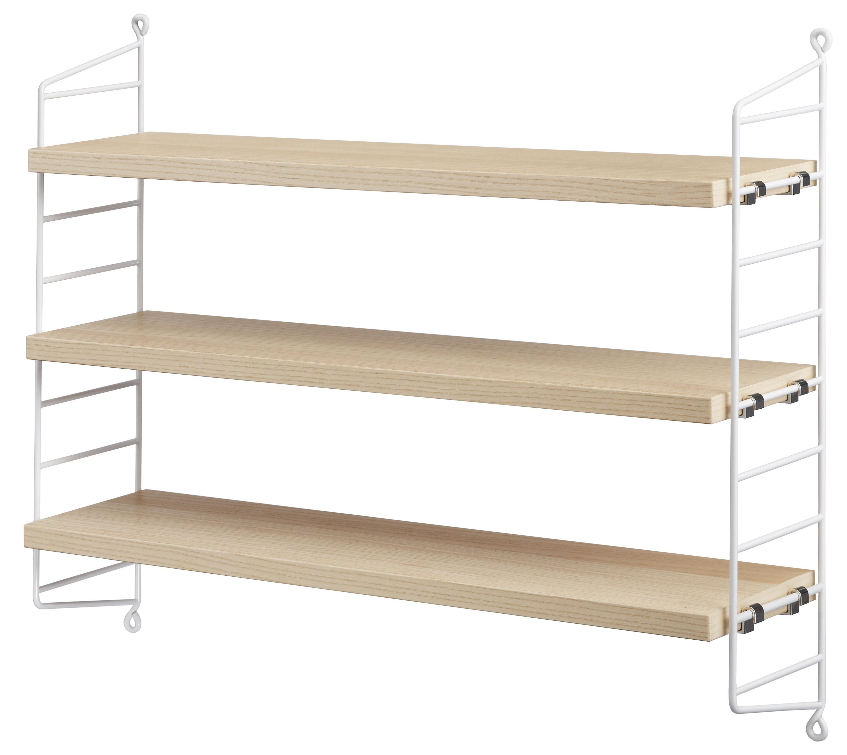Arredamento - Scaffali e librerie - Scaffale String Pocket - / Versione legno - L 60 x H 50 cm di String Furniture - Frassino / Montanti bianchi - Acciaio laccato, Agglomerato impiallacciato in frassino