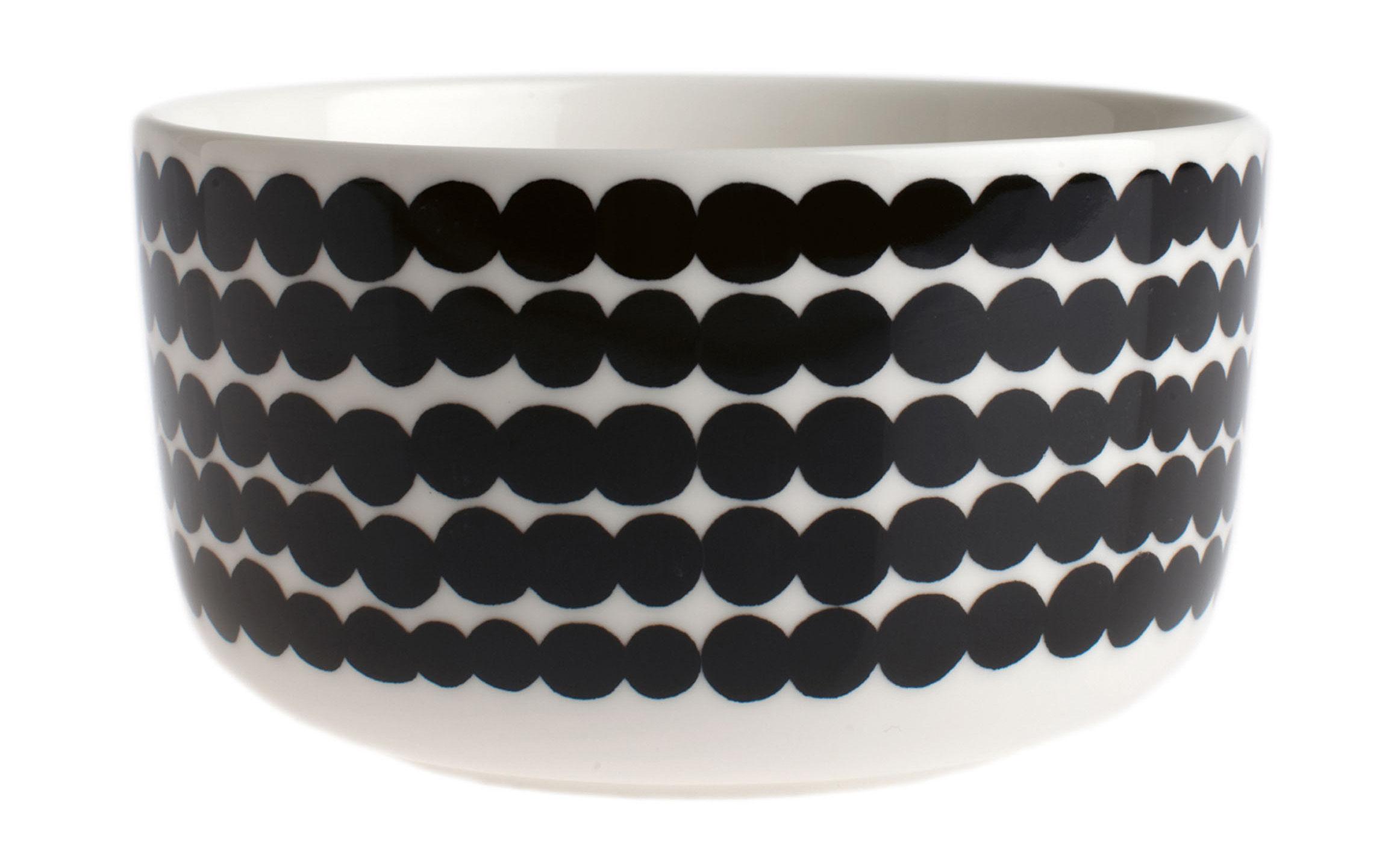 Tischkultur - Salatschüsseln und Schalen - Siirtolapuutarha Schale Ø 12,5 cm - Marimekko - Ø 12,5 cm - Siirtolapuutarha - Schwarz & weiß - emailliertes Porzellan