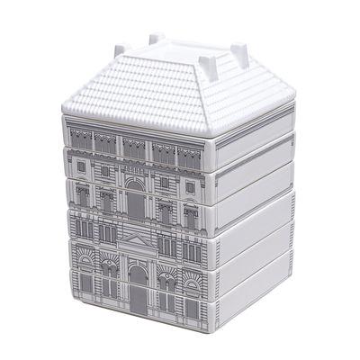 Arts de la table - Assiettes - Set vaisselle Palace - Governo / 6 assiettes creuses + 1 bol empilables - Seletti - Blanc & noir - Porcelaine de Limoges