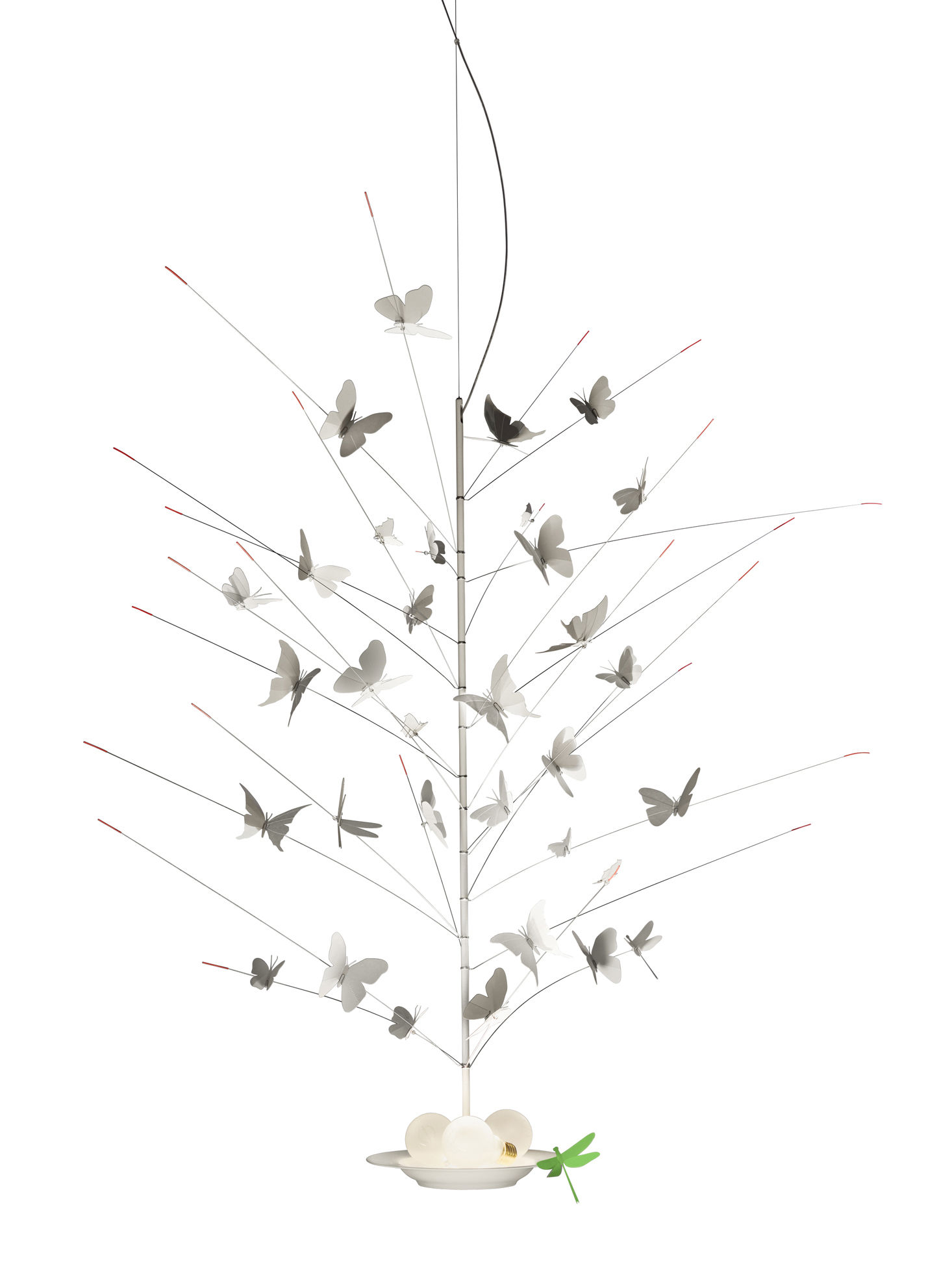 Illuminazione - Lampadari - Sospensione La festa delle Farfalle - / LED - Ø 60 x H 110 cm di Ingo Maurer - Sospensione / Bianco - Carta, metallo laccato, Porcellana