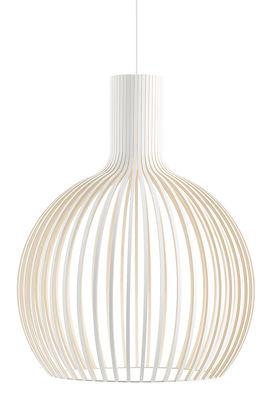 Illuminazione - Lampadari - Sospensione Octo - / Ø 54 cm di Secto Design - Bianco / Cavo bianco - Doghe in laminato di betulla, Tessuto