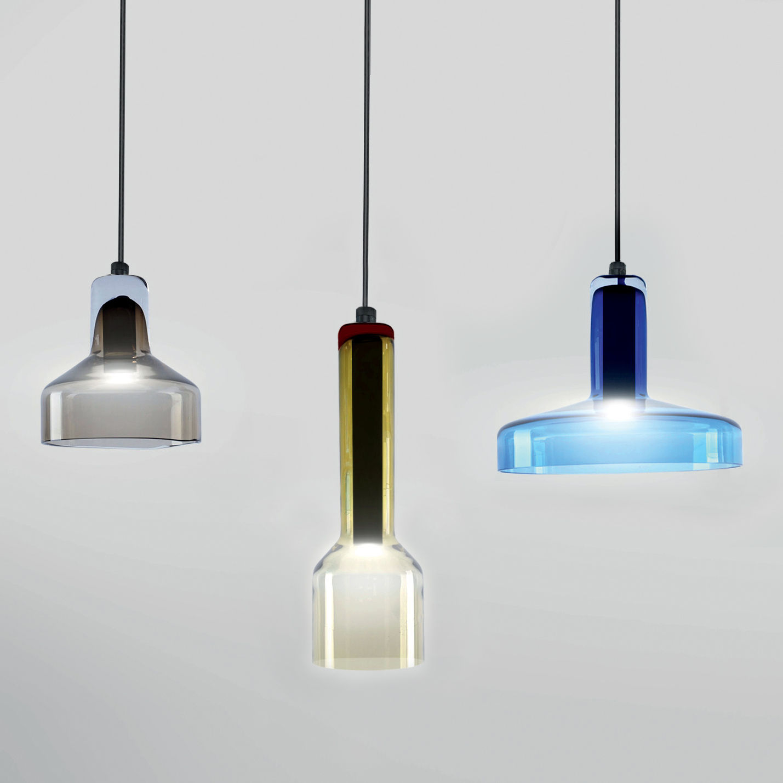 Illuminazione - Lampadari - Sospensione Stab Light Triple / Set 3 sospensioni - Vetro artigianale - Danese Light - Multicolore - Metallo, Vetro
