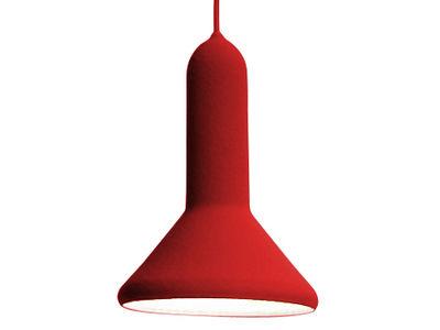 Illuminazione - Lampadari - Sospensione Torch Light Cône - forma conica - Ø 15 cm di Established & Sons - Rosso - Cavo rosso - policarbonato