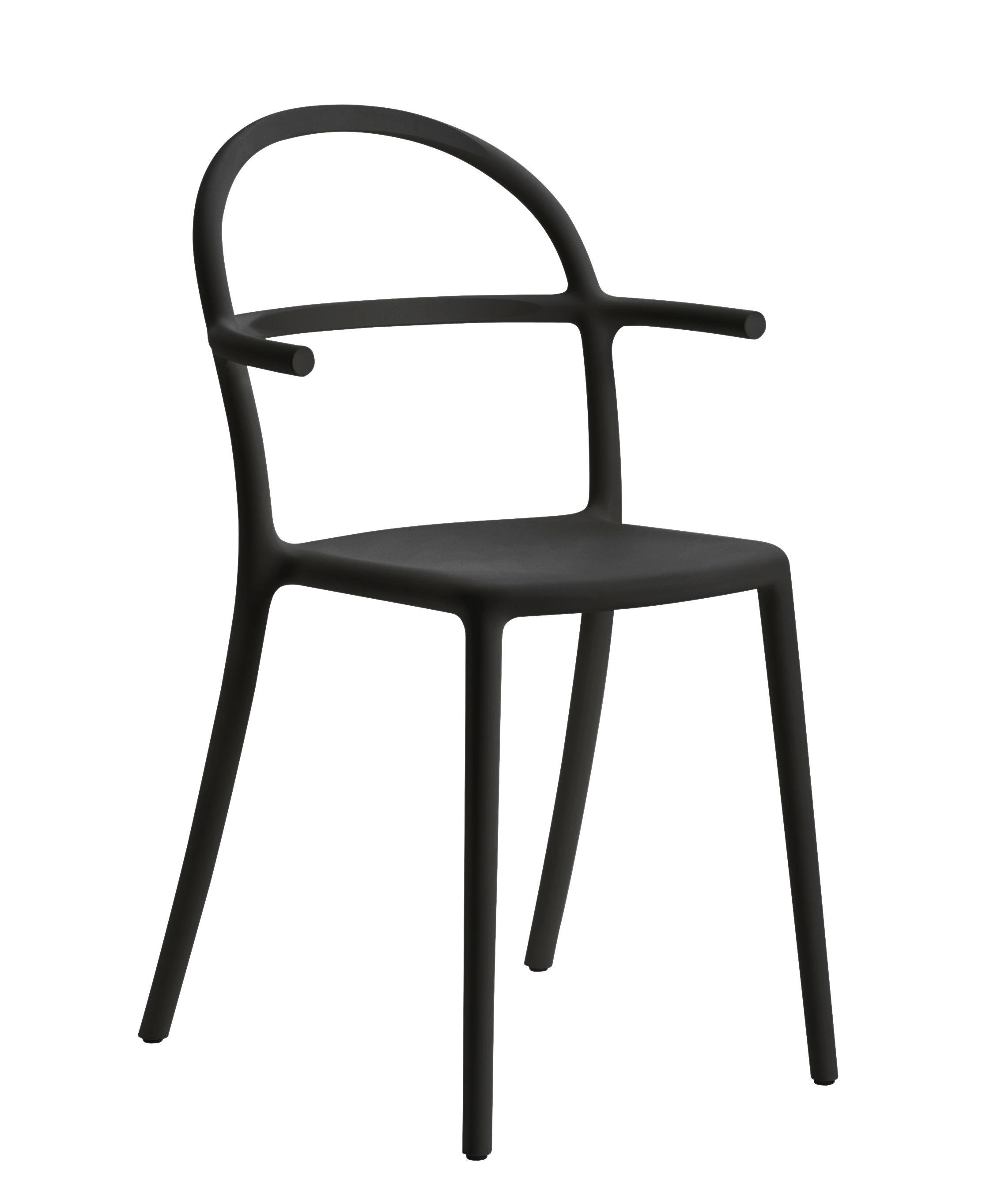 Furniture - Chairs - Generic C Stackable armchair - / Polypropylene by Kartell - Black - Polypropylene