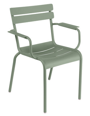 Furniture - Chairs - Luxembourg Stackable armchair - Aluminium by Fermob - Cactus - Lacquered aluminium