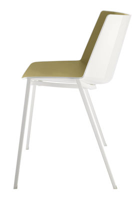 Furniture - Chairs - Aiku Stacking chair - / Metal square legs by MDF Italia - White & olive green inside / White legs - Painted steel, Polypropylene