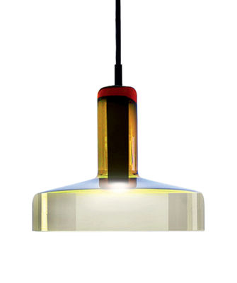 Suspension Stab Light Medium / Ø 21 x H 17 cm - Verre artisanal - Danese Light vert-ambre en verre