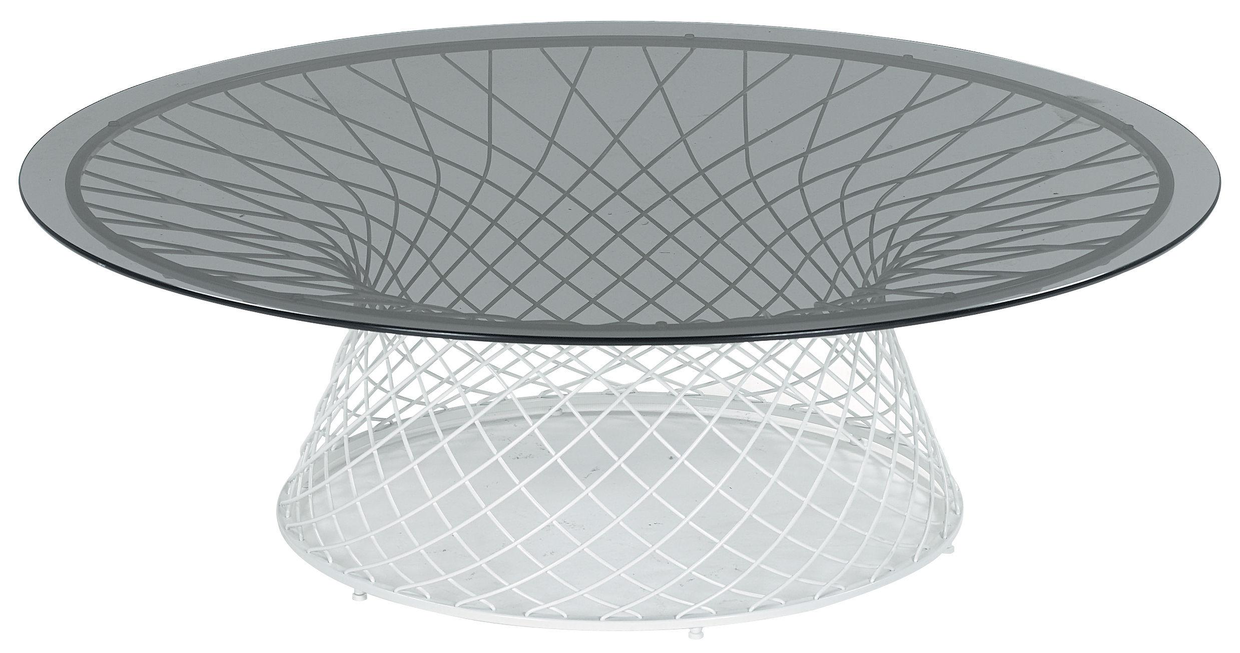 Mobilier - Tables basses - Table basse Heaven / Ø 120 cm - Emu - Blanc mat / Plateau verre fumé - Acier, Verre
