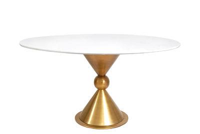 Mobilier - Tables - Table ronde Caracas / Marbre & laiton - Ø 140 cm - Jonathan Adler - Marbre blanc / Laiton brossé - Laiton brossé, Marbre