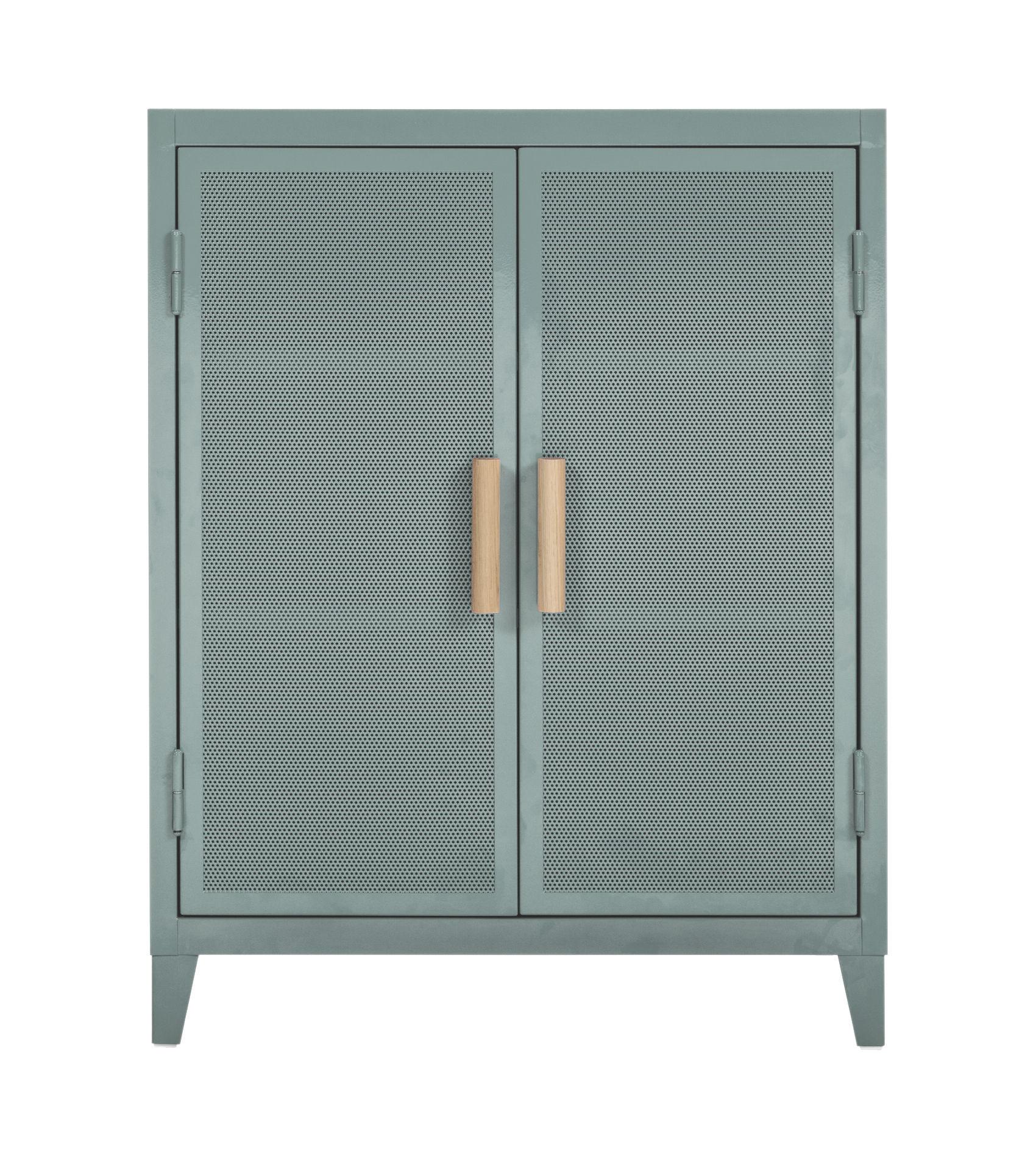 Möbel - Aufbewahrungsmöbel - Vestiaire bas Perforé Ablage / 2 Türen - Lochblech & Holz - Tolix - Graugrün / Griffe Eiche - Lackierter recycelter Stahl, massive Eiche