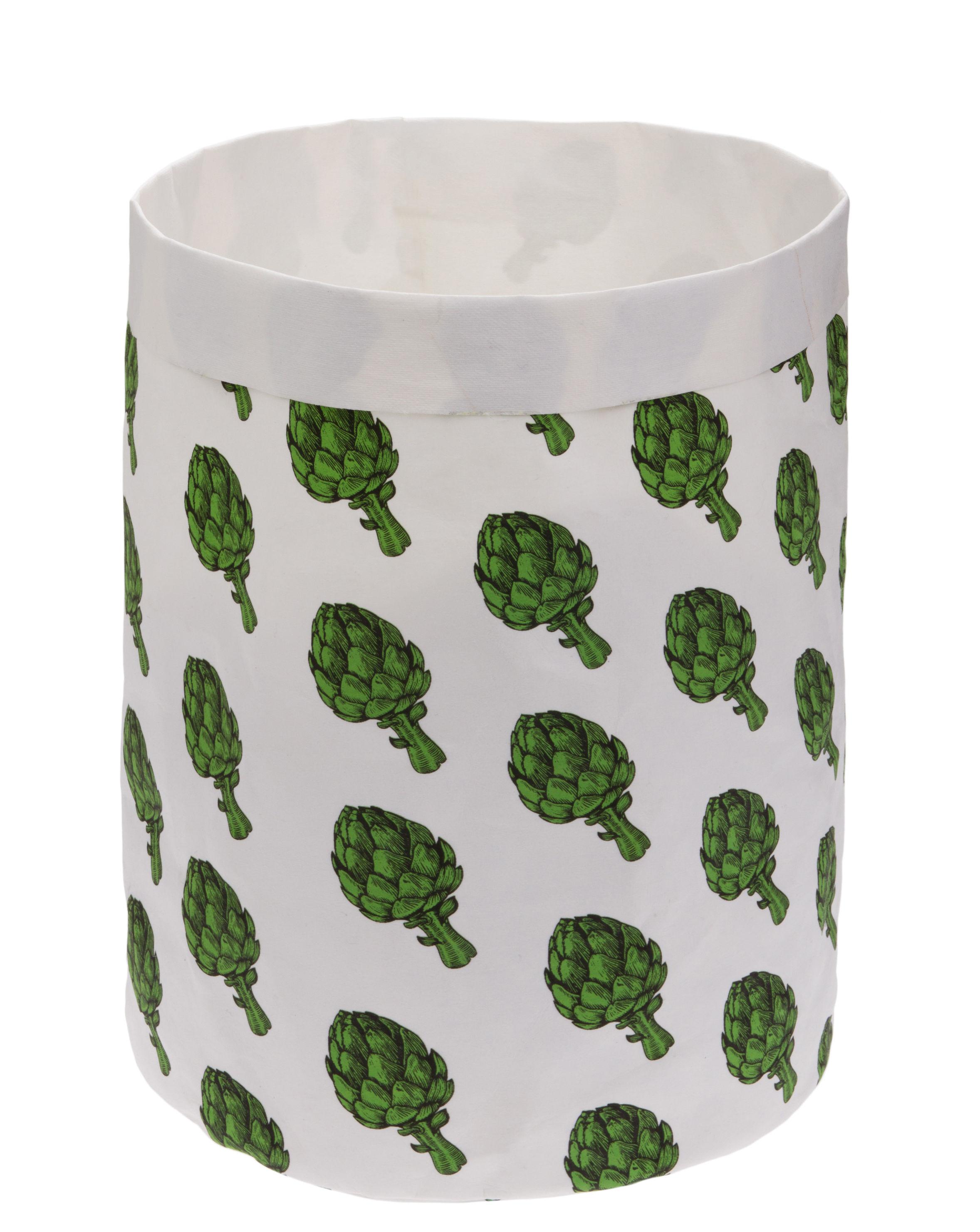 Decoration - Centrepieces & Centrepiece Bowls - Arti Show Basket - Washable paper / Ø 20 x H 30 cm by Gangzaï design - White & green - Washable kraft paper