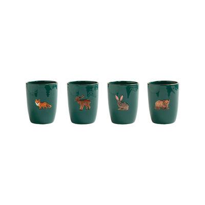 Tischkultur - Tassen und Becher - Forest Animal Becher / 4er Set - Handbemaltes Porzellan - & klevering - Grün - Porzellan