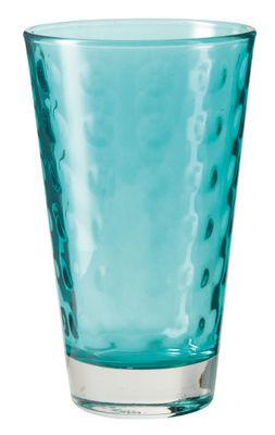 Tavola - Bicchieri  - Bicchiere long drink Optic / H 13 x Ø 8 cm - 30 cl - Leonardo - Blu laguna - Vetro con pellicola