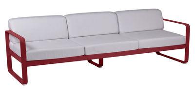 Canapé droit Bellevie 3 places L 235 cm Tissu blanc Fermob blanc grisé,piment en métal