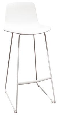 Mobilier - Tabourets de bar - Chaise de bar Lottus / Piètement luge - H 76 cm - Enea - Blanc - Acier, Polypropylène