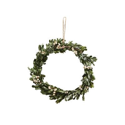 Couronne de Noël Misteltoe Small / Ø 22 cm - Buis atificiel & baies - House Doctor vert en matière plastique