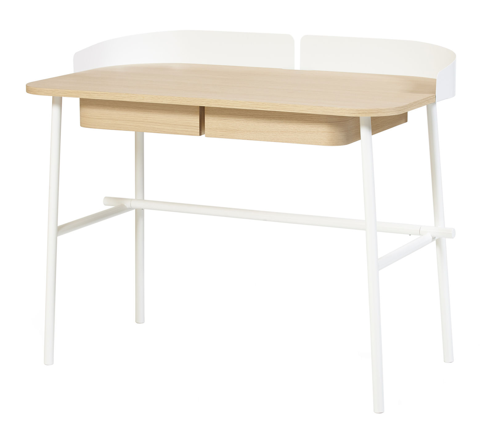 Furniture - Office Furniture - Victor Desk by Hartô - White / Natural wood - Lacquered metal, MDF veneer oak