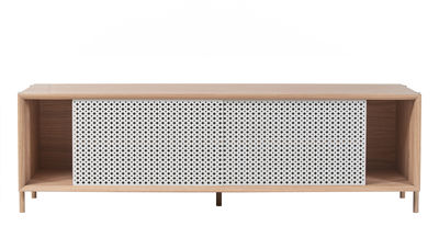 Furniture - Dressers & Storage Units - Gabin Dresser - L 162 x H 49 cm by Hartô - Light grey & Natural oak - MDF veneer oak, Perforated metal, Solid oak